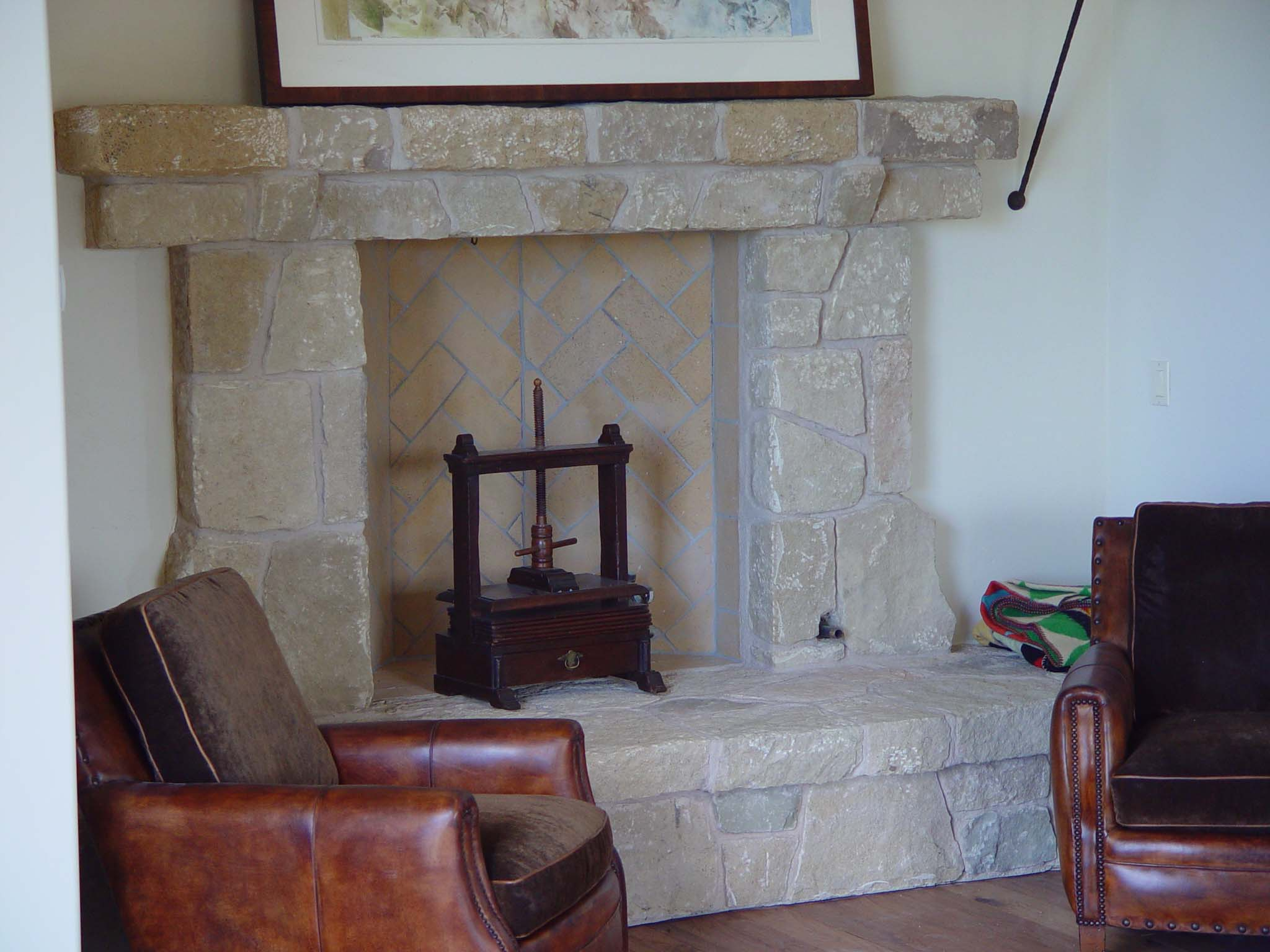 Santa barbara sandstone gallery - Covering brick fireplace with tile ...