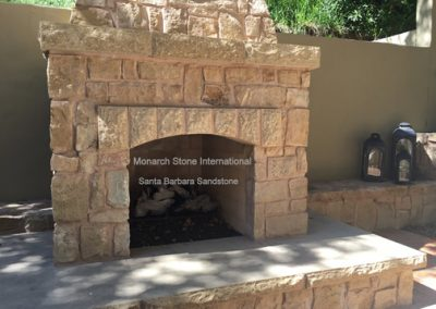 04-Santa Barbara Sandstone Rubble Veneer Fireplace