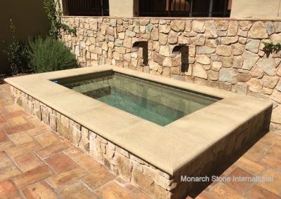 Santa Barbara Sandstone Rubble Veneer Wall and Pool Coping