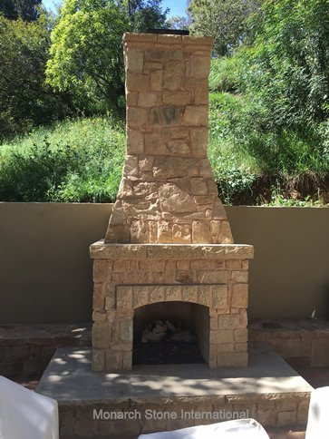02-Santa Barbara Sandstone Rubble Veneer Fireplace