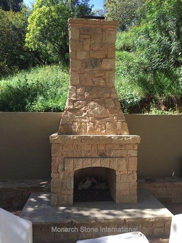 02-Santa Barbara Sandstone Rubble Veneer Fireplace