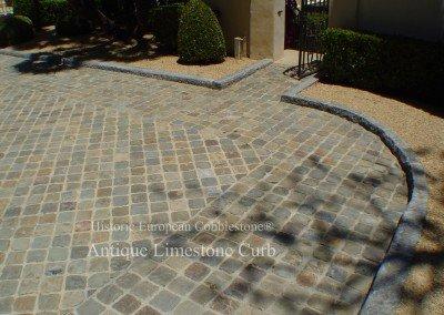 05-Antique European Limestone Curb and Reclaimed Sandstone Cobble