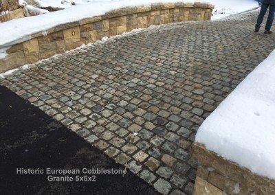 53-Antique Granite Cobblestone 5x5x2 and reclaimed limestone curb