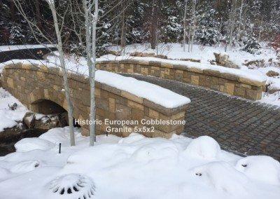 54-Antique Granite Cobblestone 5x5x2 and reclaimed limestone curb