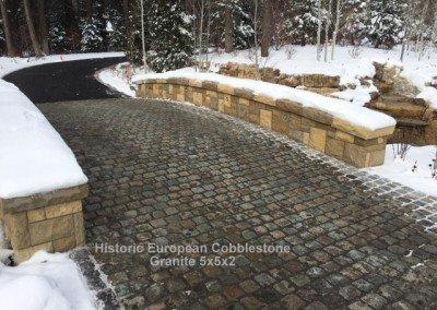 56-Antique Granite Cobblestone 5x5x2 and reclaimed limestone curb