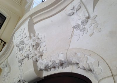 French limestone carved entryway
