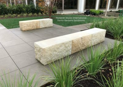Santa Barbara Sandstone Benches, natural split face, sawn top