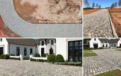 19,000 SF Reclaimed Historic European Cobblestone Driveway in South Carolina
