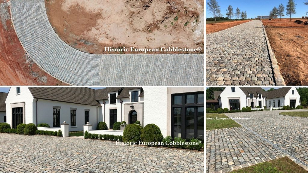 19,000 SF Reclaimed Historic European Cobblestone Driveway in South Carolina
